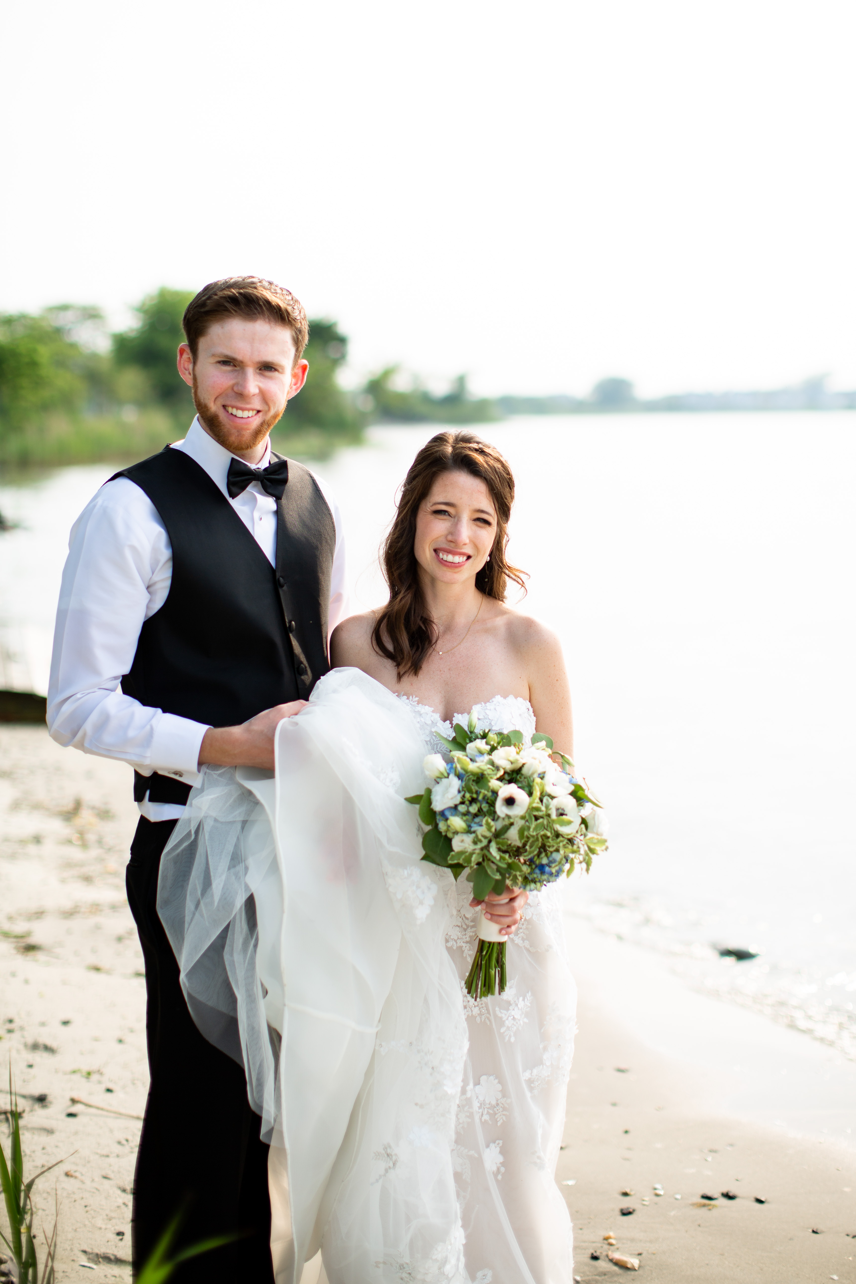 Bride and groom by the sea, in Cape May